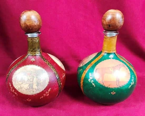 LOT OF TWO VINTAGE LEATHER DECANTERS