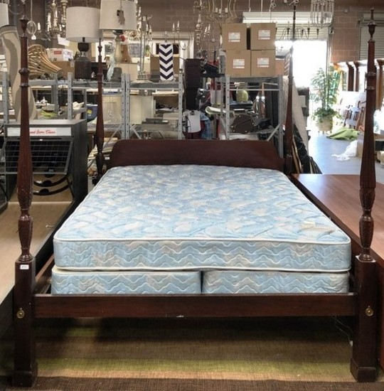CALIFORNIA KING 4 POSTER BED W/ MATT & BOX