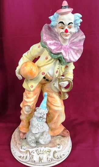 "20"" TALL CAPO DIMONTE  PORCELAIN CLOWN - MADE IN ITALY"