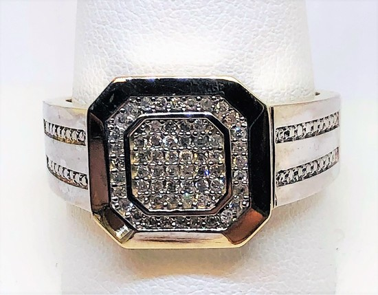 10KT YELLOW GOLD MEN'S DIAMOND RING 7.2GRS