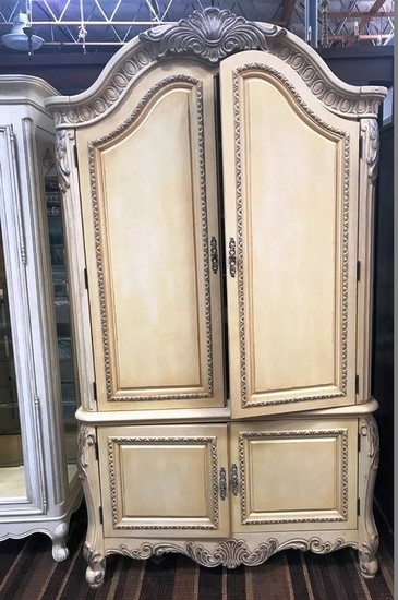 BEAUTIFUL TWO DOOR ANTIQUE WHITE FINISHED ARMOIRE