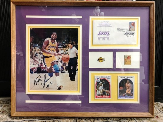 FRAMED LAKERS MAGIC JOHNSON SIGNED PHOTO & MORE