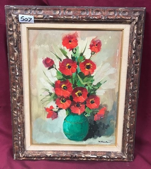 SIGNED CANVAS ARTWORK - RED FLOWERS W/ GREEN VASE