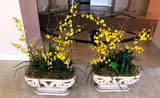 PAIR OF YELLOW FLOWERS DCOR CENTER PIECES