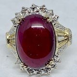10KT YELLOW GOLD 15.00CTS RUBY DIAMOND RING