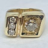 14KT YELLOW GOLD 1.35CTS DIAMOND NUGGET RING