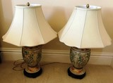 PAIR OF CERAMIC MATCHING LAMPS W/ WHITE SHADES
