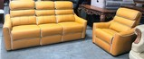 NEW GENUINE LEATHER 2PC COUCH SET WITH RECLINERS