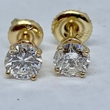14KT YELLOW GOLD 1.00CTS DIAMOND STUD EARRINGS