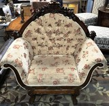 MAHOGANY CARVED FRAMED CHAIR W/ TUFTED FLORAL PRINT