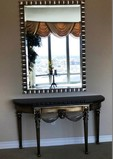 BLACK MARBLE TOP CONSOLE TABLE WITH LARGE MIRROR