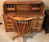 MAPLE ROLL TOP DESK & MATCHING CHAIR ON WHEELS