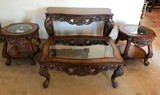 MAGNIFICENT 4PC PIECE GLASS TOP TABLE SET - VERY ELEGANT & ORNATE