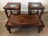 VERY ELEGANT 3PC TABLE SE WITH GLASS INSERTS & INLAID TOP