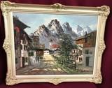 1960'S SIGNED FRAMED CANVAS ARTWORK - VILLAGE & MOUNTAINS