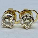 14KT YELLOW GOLD 1.20CTS DIAMOND STUD EARRINGS