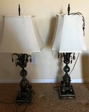 PAIR OF ORNATE MATCHING LAMPS WITH WHITE SHADES