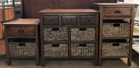 SET OF (3) MATCHING WOOD & RATTAN CABINETS - SEE PICS