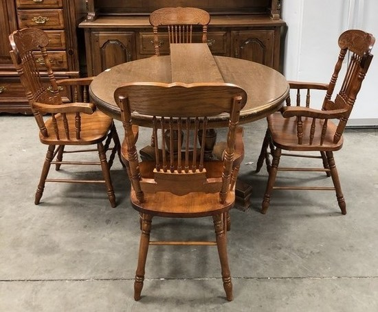 MISMATCH TABLE & 4 OAK CHAIRS - WELL BUILT