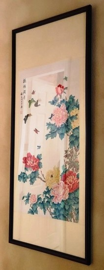 "53"" TALL ASIAN FLORAL FRAMED ARTWORK FROM ESTATE"