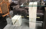 MARBLE, BRASS & GLASS TOP COFFEE TABLE & (2) END TABLES