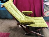 ANTIQUE GREEN UPHOLSTERY FOLDING CHAIR