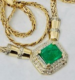14KT YELLOW GOLD EMERALD AND DIAMOND NECKLACE