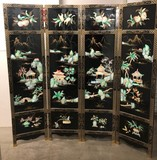 GREAT 4 PANEL BLACK LACQUER DRESSING SCREEN