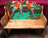 GREAT SOLID WOOD CARVED BENCH WITH COLORFUL PARROTS - 30