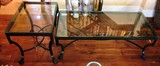 GLASS TOP & ALL METAL FRAMED COFFEE & END TABLE FROM CRATE & BARREL