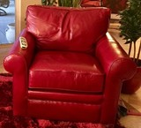 LIKE NEW GENUINE RED LEATHER DEEP SEATING CHAIR BY LA-Z-BOY