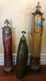 SET OF THREE COLORFUL ASIAN POTTERY DCOR STATUES