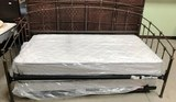 NEW METAL FRAME DAY BED W/ TRUNDLE BED PLUS NEW MATTS