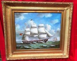 PHENOMENAL SHIP PICTURE IN GOLD FRAME   - ANTIQUE??