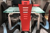 GLASS TOP DESIGNER GLASS TOP TABLE W/ 4 LEATHER BLACK & RED CHAIRS
