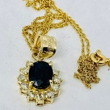 14KT YELLOW GOLD BLUE SAPPHIRE AND DIAMOND PENDANT