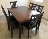 ELEGANT CLEAN TABLE & 6 CHAIRS - DARK COLOR