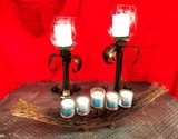 LOT OF CANDLE HOLDERS W/ CANDLES