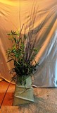 DECORATIVE GREEN VASE WITH BRANCHES