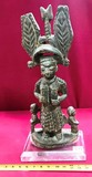 ANTIQUE AFRICAN BUDDHA SCULPTURE ON LUCITE STAND - STANDING