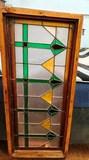 GREEN/ YELLOW ANTIQUE STEIN GLASS WINDOW