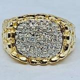 14KT YELLOW GOLD NUGGET DESIGN DIAMOND RING
