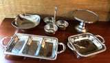 LOT OF  5 SILVER PLATE PLATTERS, CAKE PLATE & MORE - QUALITY PIECES