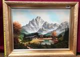 GOLD FRAMED SNOW MOUNTAINS ARTWORK - 24