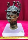 ANTIQUE AFRICAN BUDDHA SCULPTURE ON LUCITE STAND - BUST