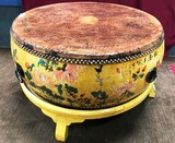 YELLOW STAND ASIAN VINTAGE DRUM COFFEE TABLE - 19