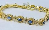 14KT YELLOW GOLD BLUE SAPPHIRE AND DIAMOND BRACELET