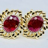 14KT YELLOW GOLD RUBY AND DIAMOND EARRINGS