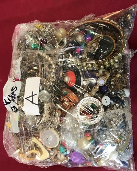 8 POUND BAG OF ASSORTED COSTUME JEWELRY FROM ESTATE (BAG A)