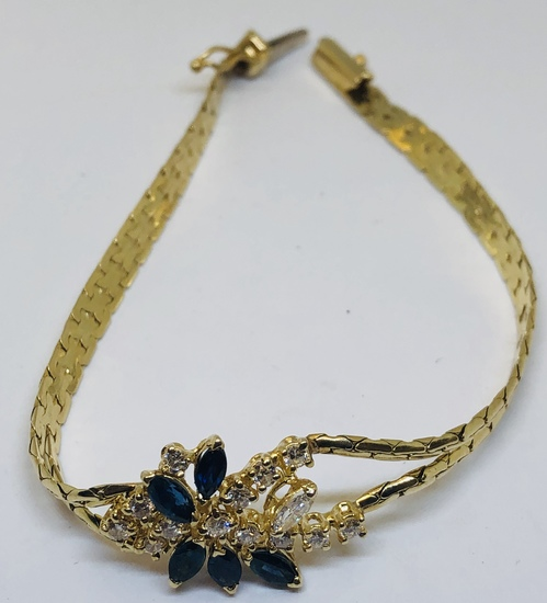 14KT YELLOW GOLD .60CTS SAPPHIRE AND .40CTS DIAMOND BRACELET